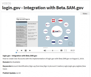 tutorial video screenshot of using login.gov with beta.sam.gov